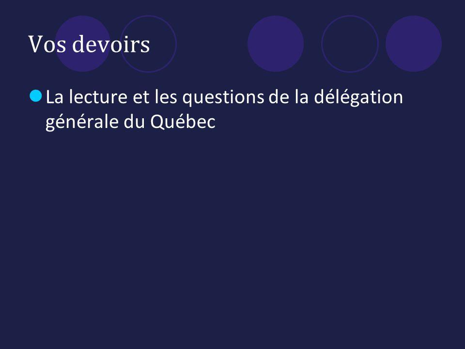 Vos devoirs La lecture et les questions de la délégation générale du Québec