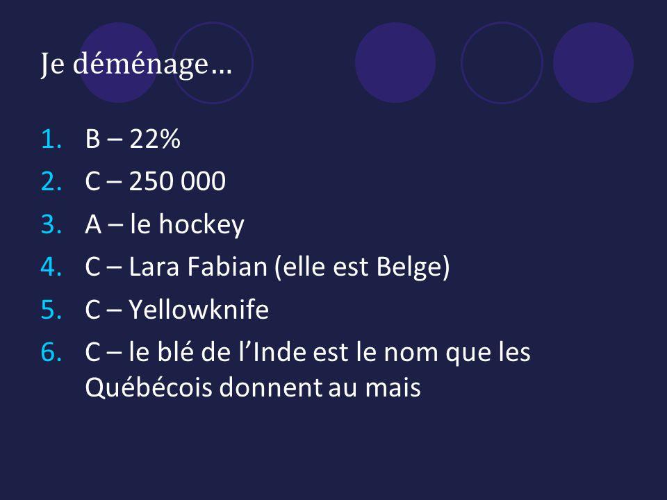Je déménage… B – 22% C – 250 000 A – le hockey