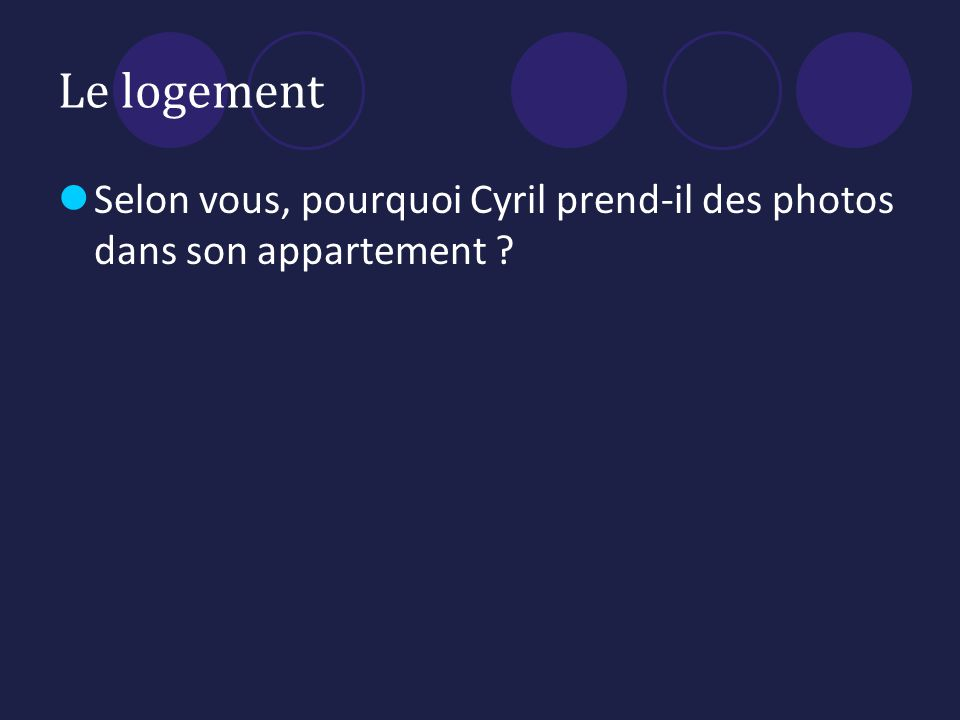 Le logement Selon vous, pourquoi Cyril prend-il des photos dans son appartement