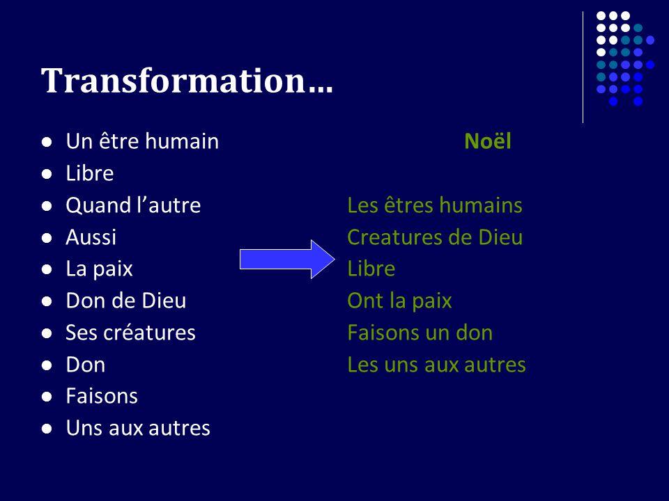 Transformation… Un être humain Libre Quand l'autre Aussi La paix