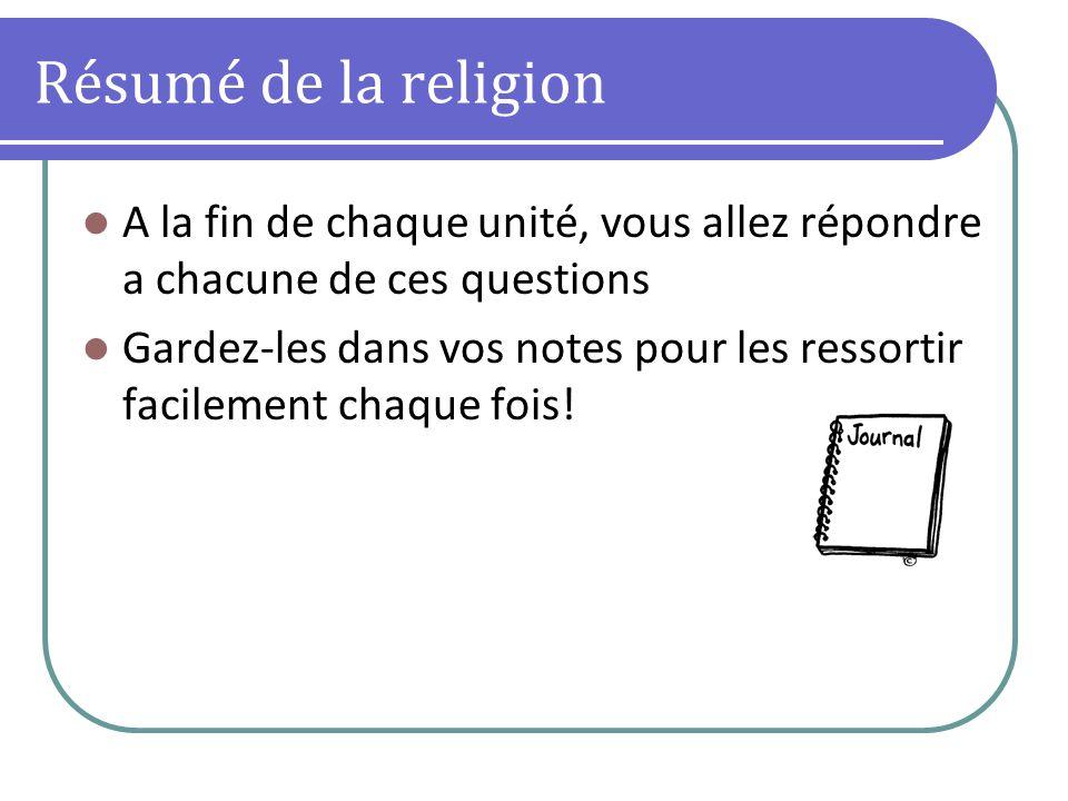 Résumé de la religion A la fin de chaque unité, vous allez répondre a chacune de ces questions.