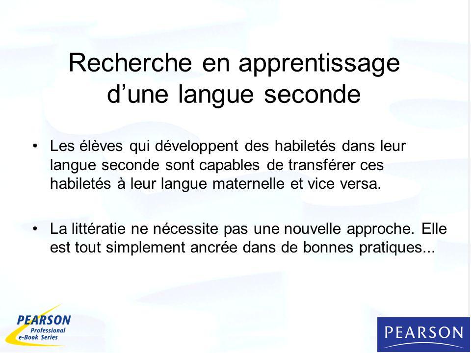 Recherche en apprentissage d'une langue seconde