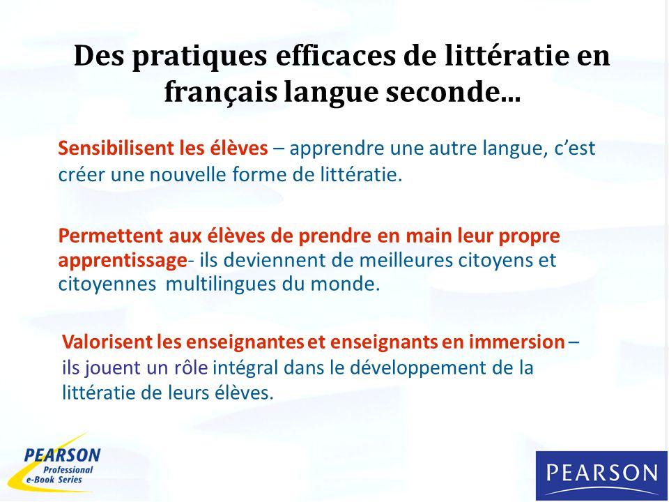 Des pratiques efficaces de littératie en français langue seconde...