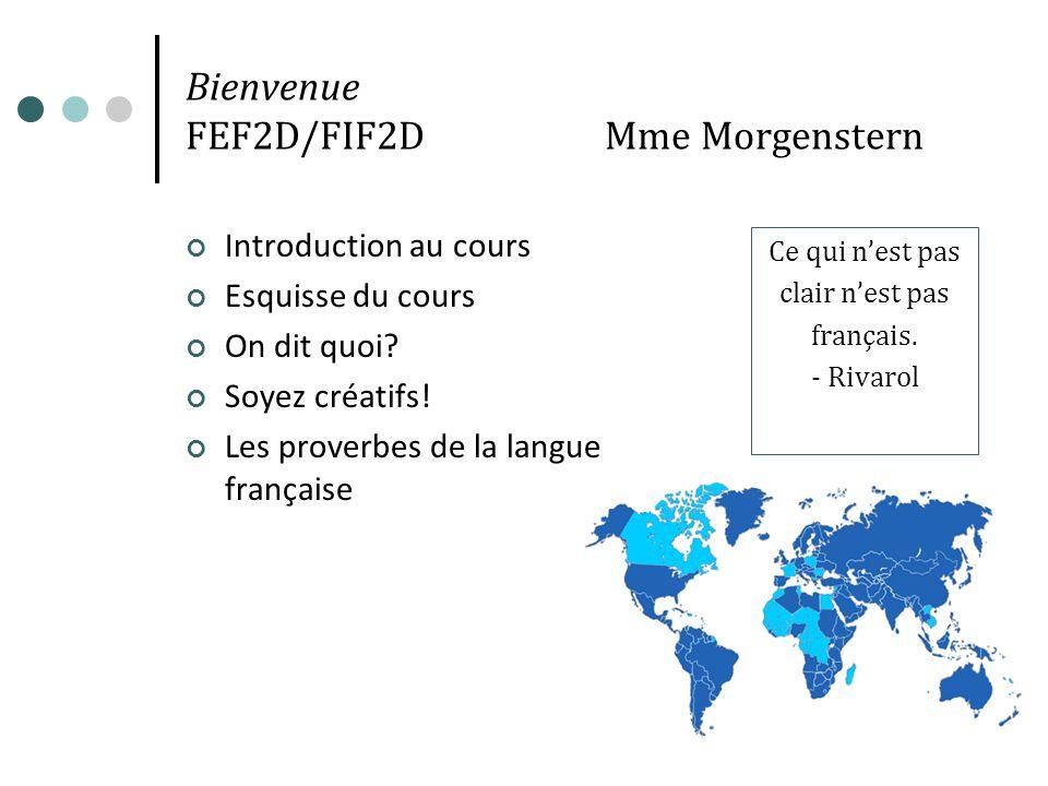 Bienvenue FEF2D/FIF2D Mme Morgenstern