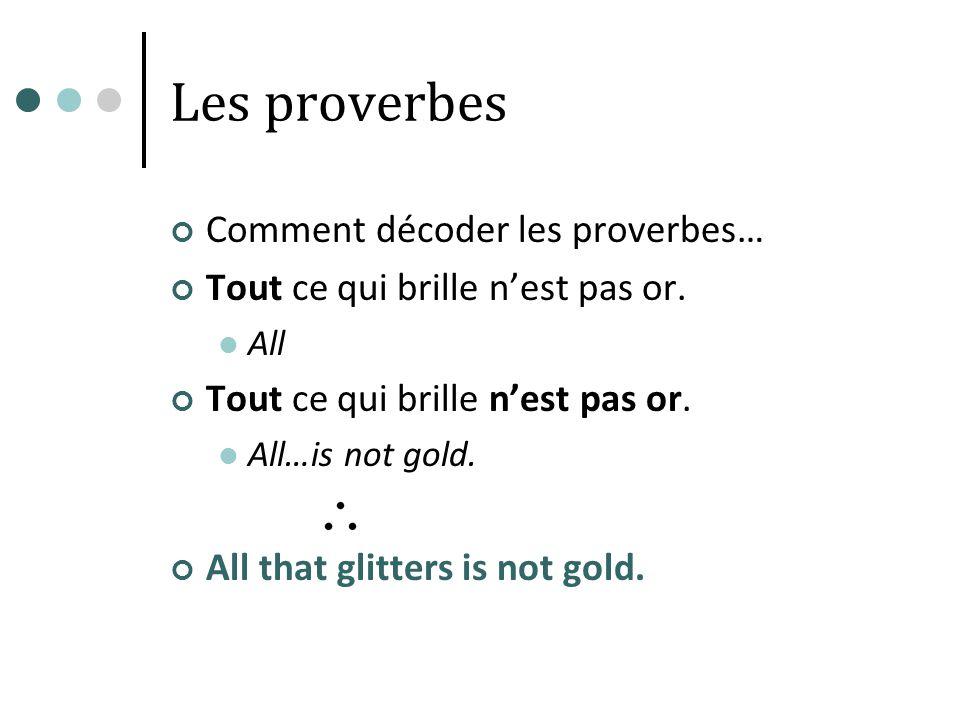 Les proverbes Comment décoder les proverbes…