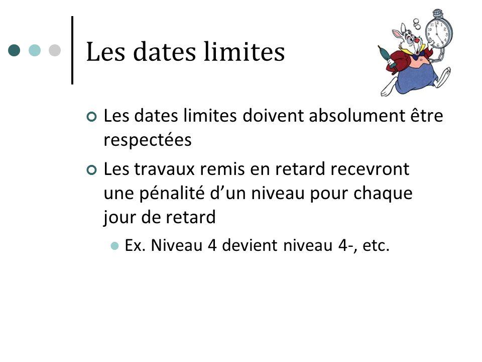 Les dates limites Les dates limites doivent absolument être respectées