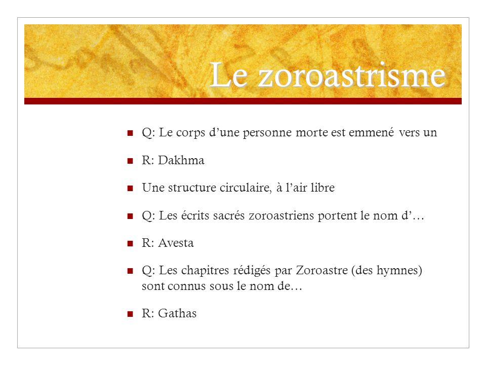 Le zoroastrisme Q: Le corps d'une personne morte est emmené vers un