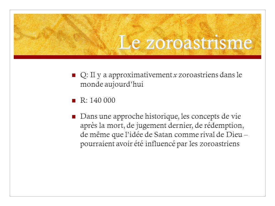 Le zoroastrisme Q: Il y a approximativement x zoroastriens dans le monde aujourd'hui. R: 140 000.