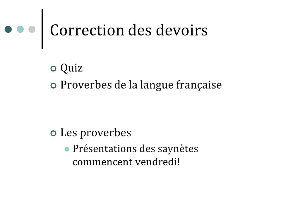 Correction des devoirs