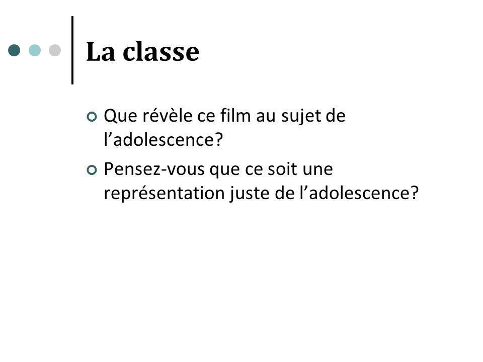 La classe Que révèle ce film au sujet de l'adolescence