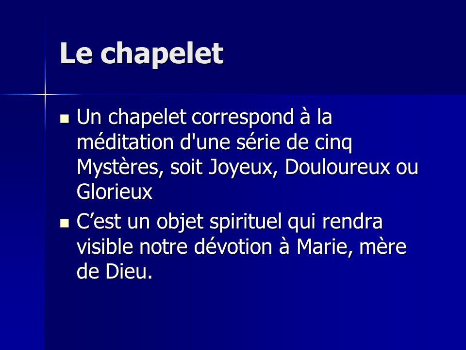 Le chapelet Un chapelet correspond à la méditation d une série de cinq Mystères, soit Joyeux, Douloureux ou Glorieux.