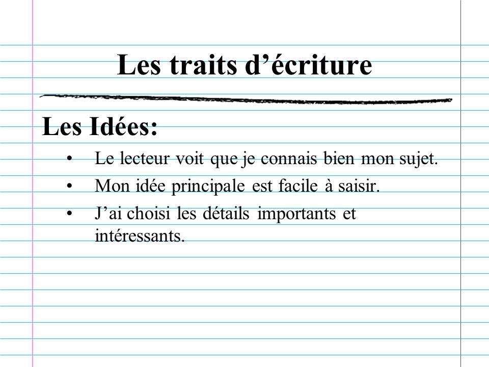 Les traits d'écriture Les Idées: