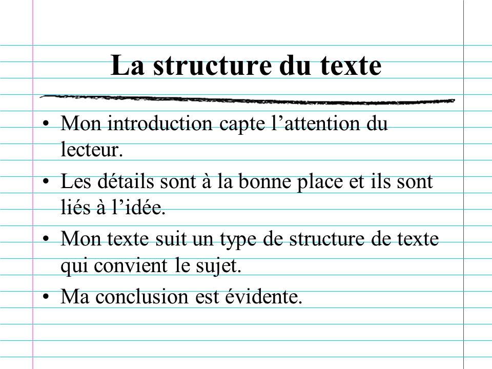 La structure du texte Mon introduction capte l'attention du lecteur.