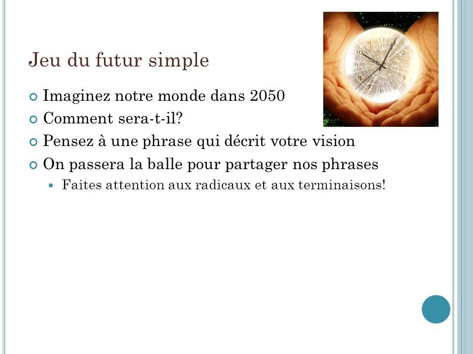 Jeu du futur simple Imaginez notre monde dans 2050 Comment sera-t-il