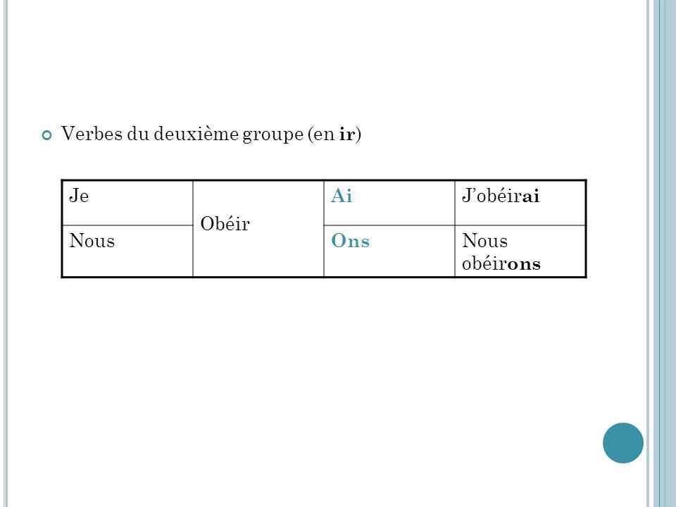 Verbes du deuxième groupe (en ir)
