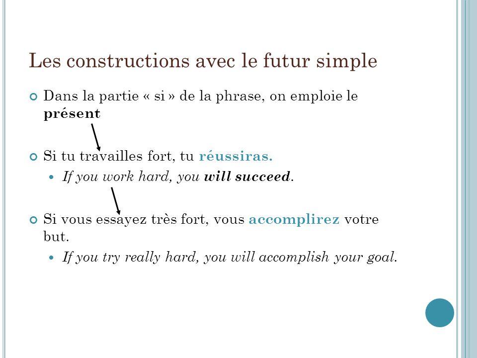 Les constructions avec le futur simple