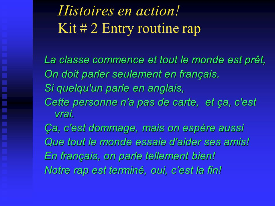 Histoires en action! Kit # 2 Entry routine rap