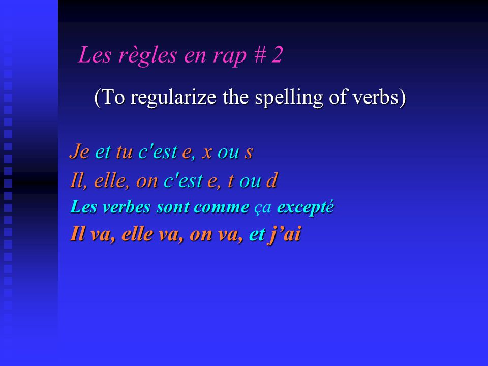 Les règles en rap # 2 (To regularize the spelling of verbs)