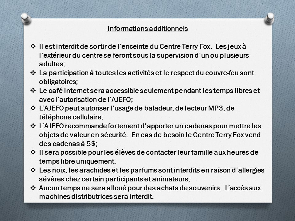 Informations additionnels