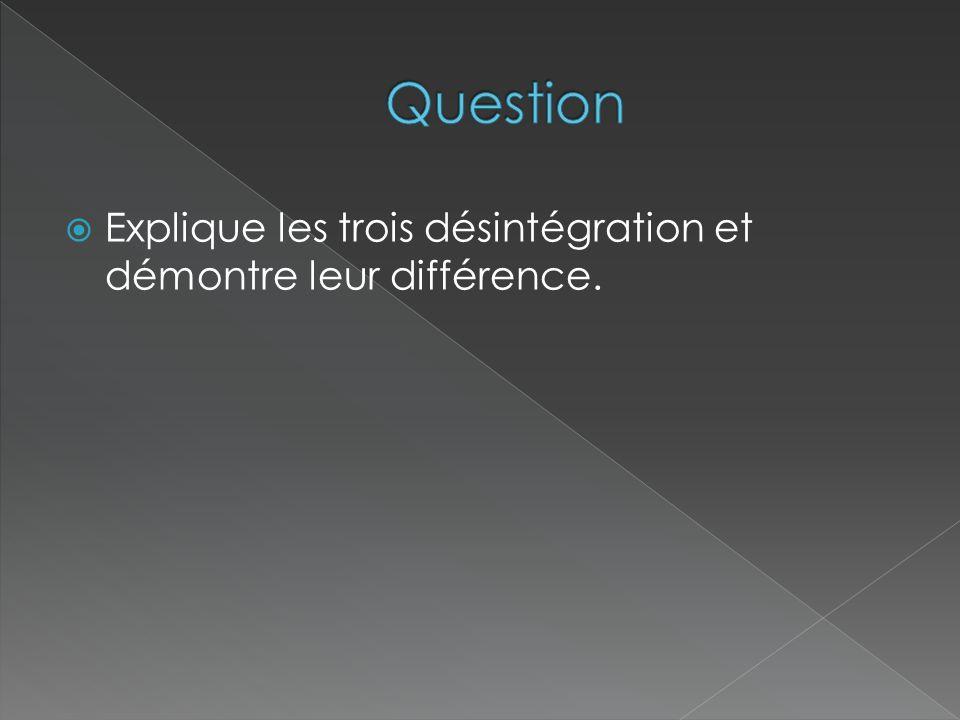 Question Explique les trois désintégration et démontre leur différence.