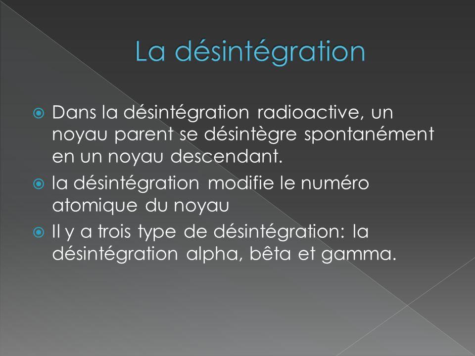 La désintégration Dans la désintégration radioactive, un noyau parent se désintègre spontanément en un noyau descendant.