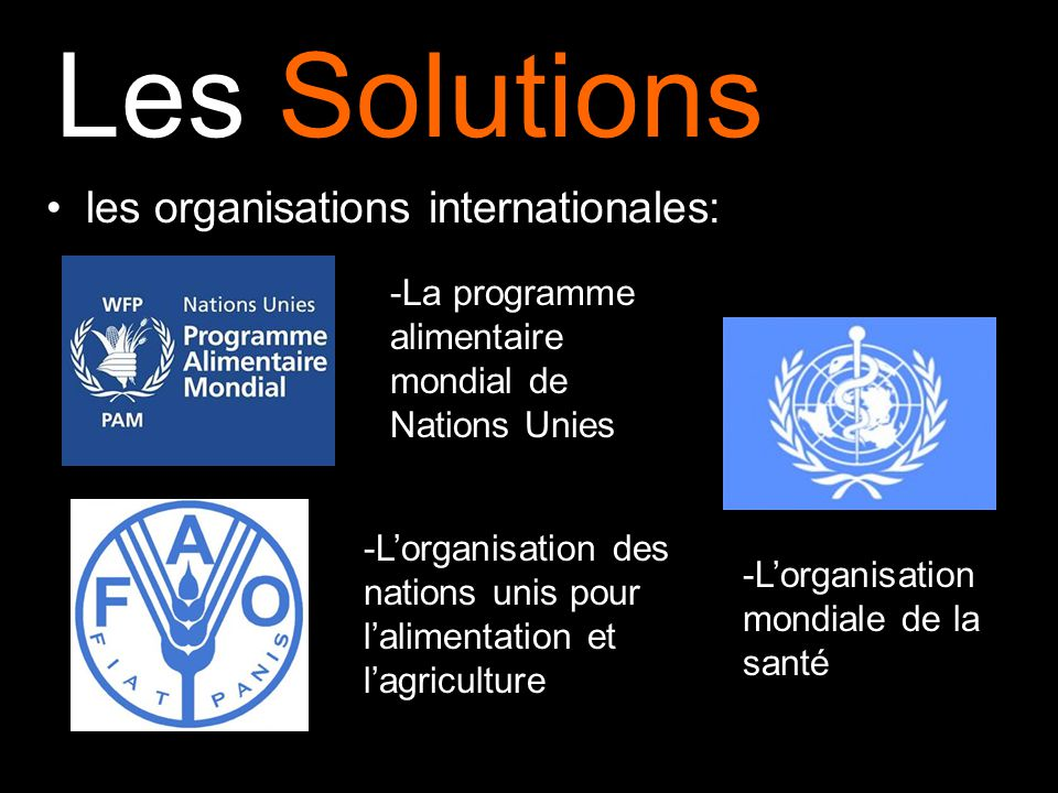 Les Solutions les organisations internationales: