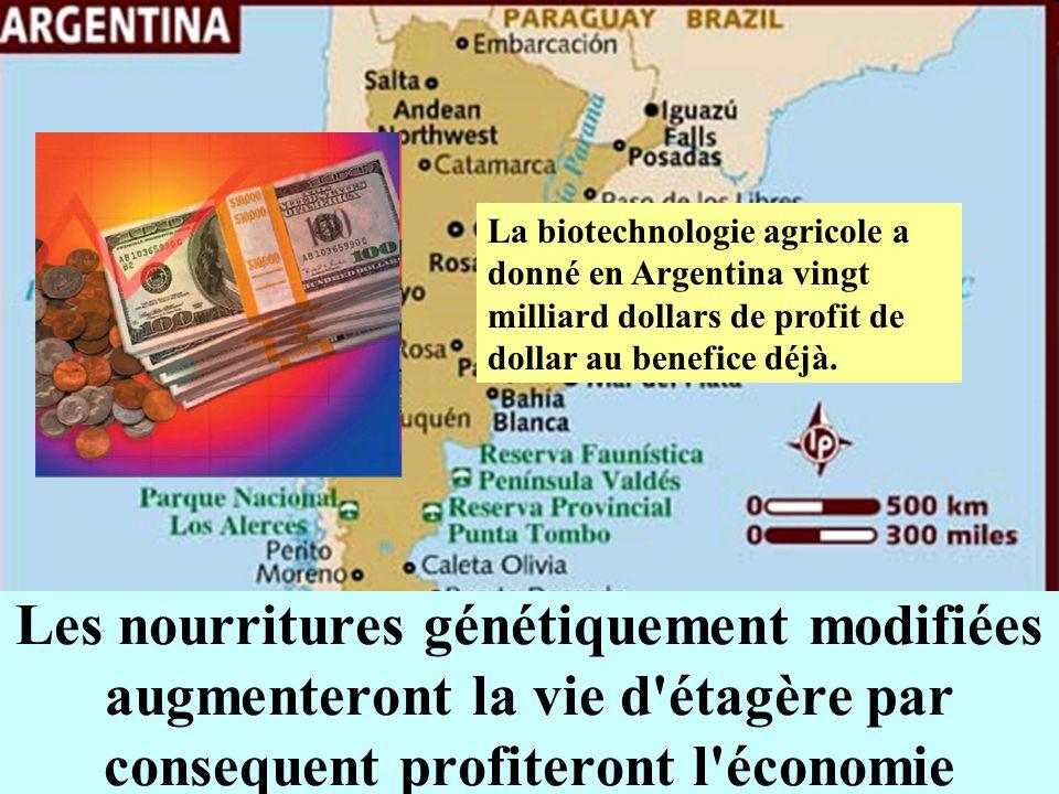 La biotechnologie agricole a donné en Argentina vingt milliard dollars de profit de dollar au benefice déjà.