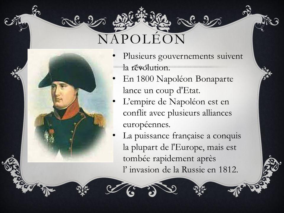 Napoléon Plusieurs gouvernements suivent la révolution.