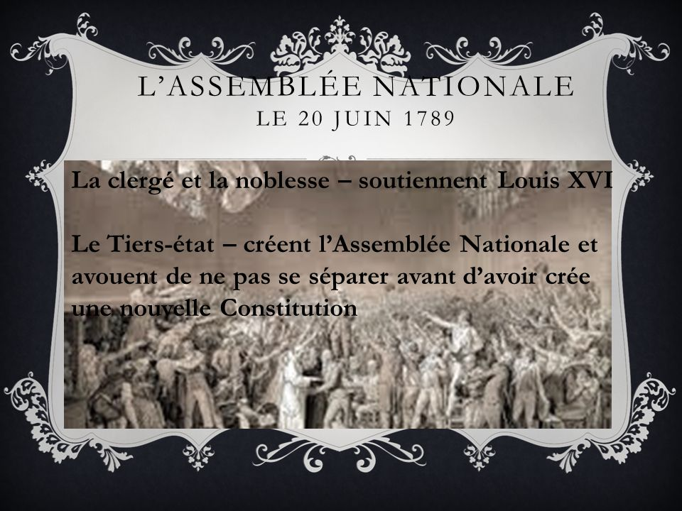 L'assemblée nationale Le 20 juin 1789