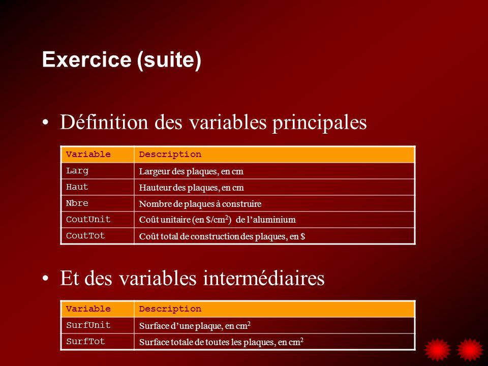 Définition des variables principales