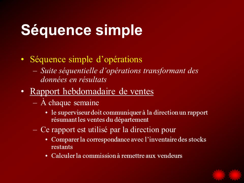 Séquence simple Séquence simple d'opérations