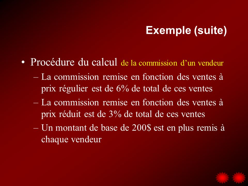 Procédure du calcul de la commission d'un vendeur
