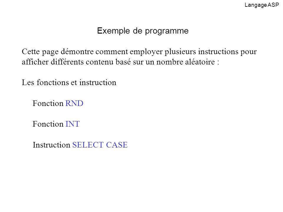 Les fonctions et instruction Fonction RND Fonction INT