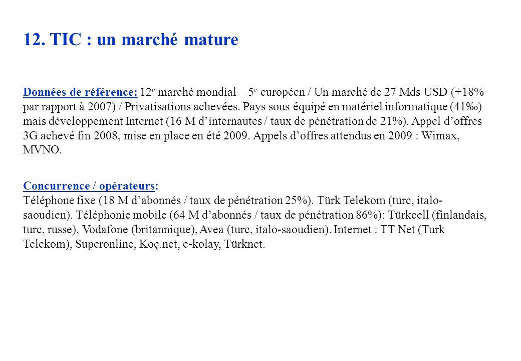 12. TIC : un marché mature