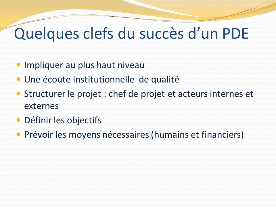 Quelques clefs du succès d'un PDE