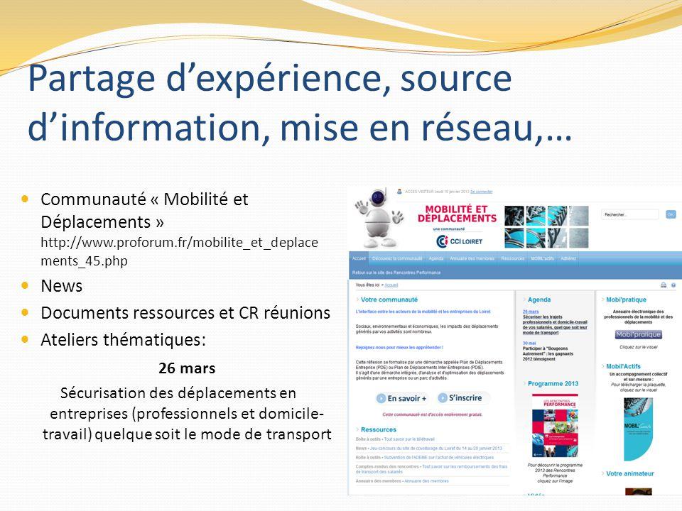 Partage d'expérience, source d'information, mise en réseau,…