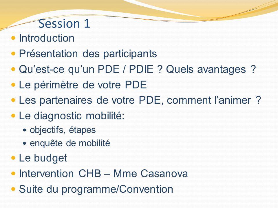 Session 1 Introduction Présentation des participants
