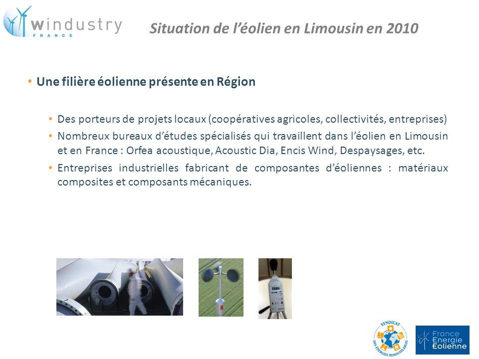Situation de l'éolien en Limousin en 2010