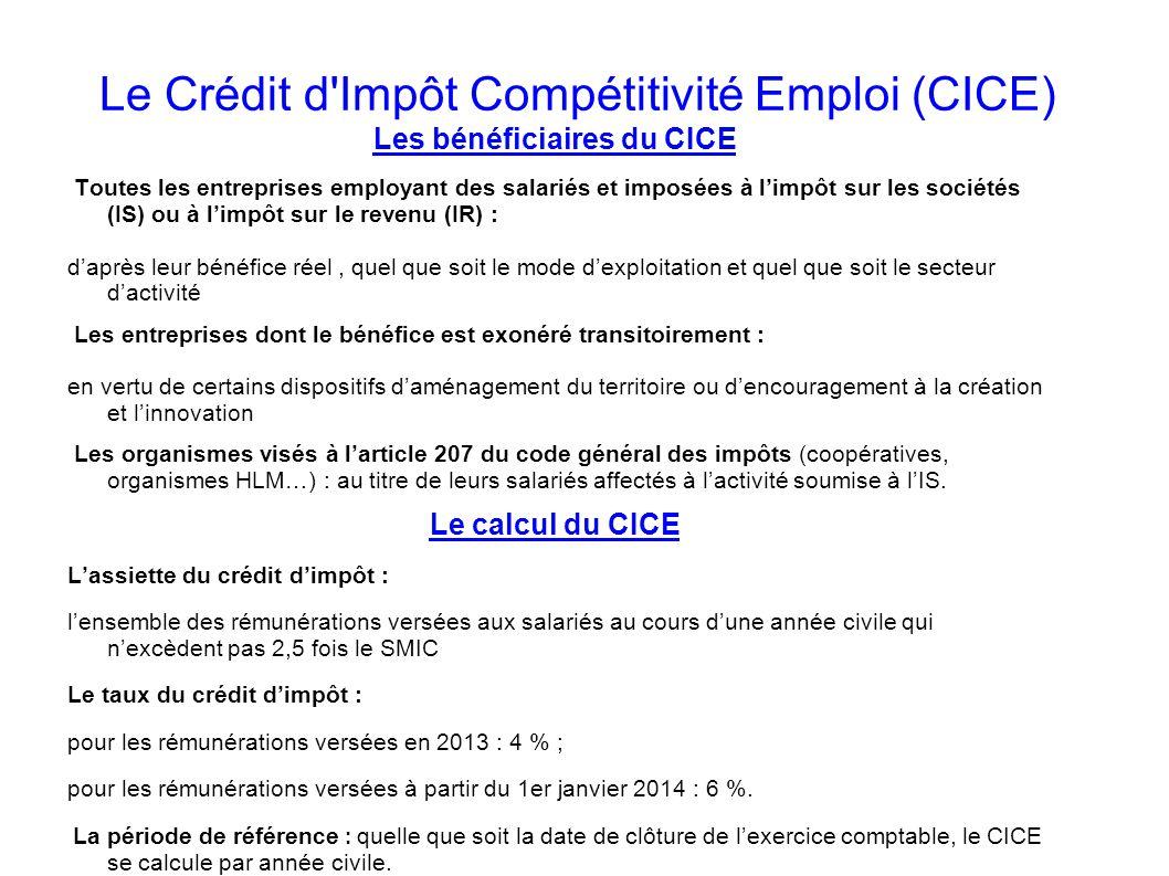 Le Crédit d Impôt Compétitivité Emploi (CICE)