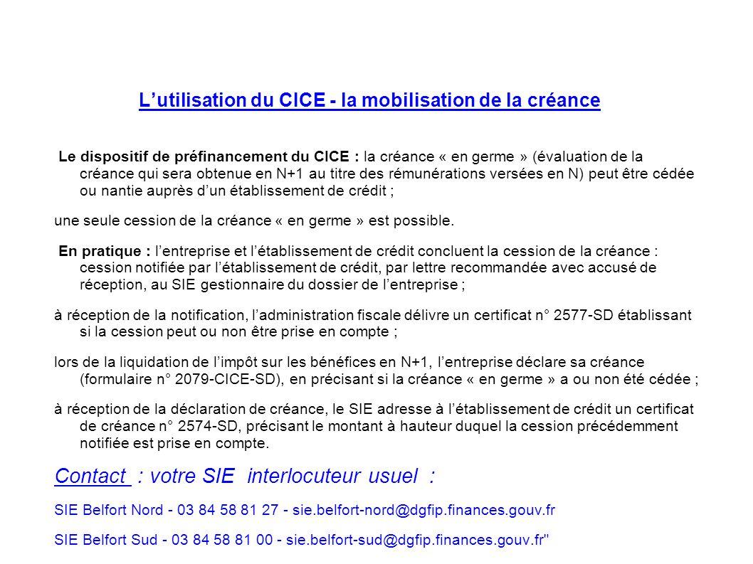 L'utilisation du CICE - la mobilisation de la créance
