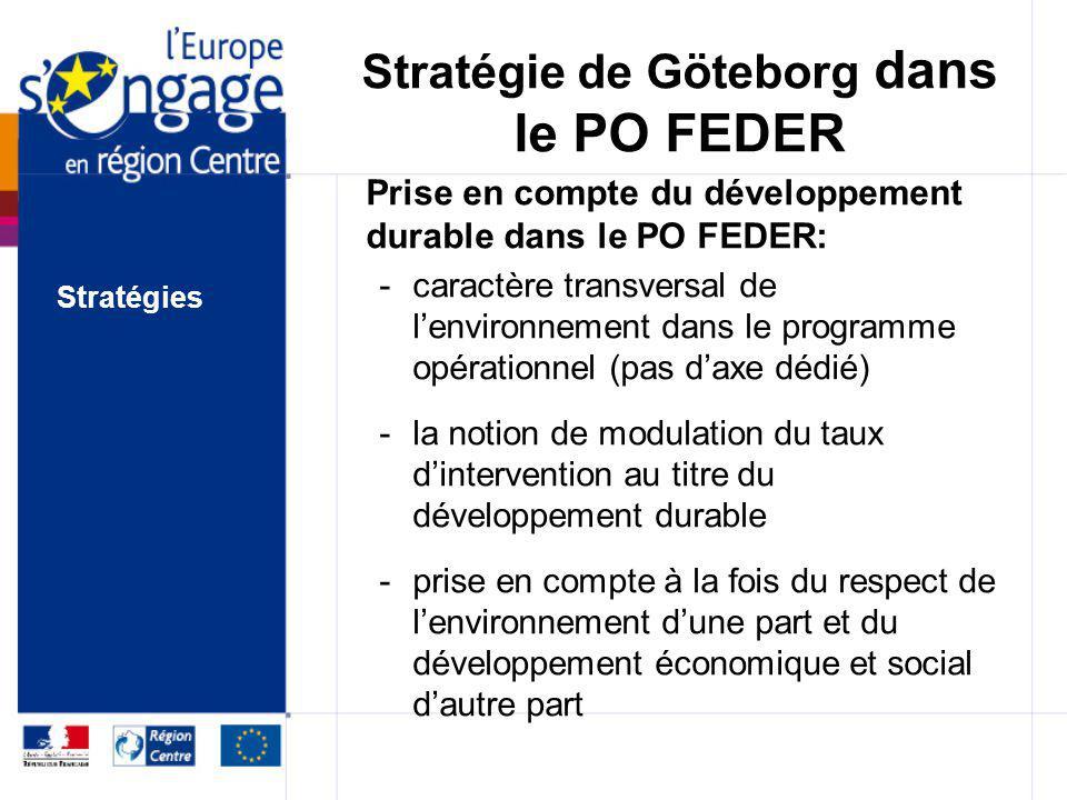 Stratégie de Göteborg dans le PO FEDER