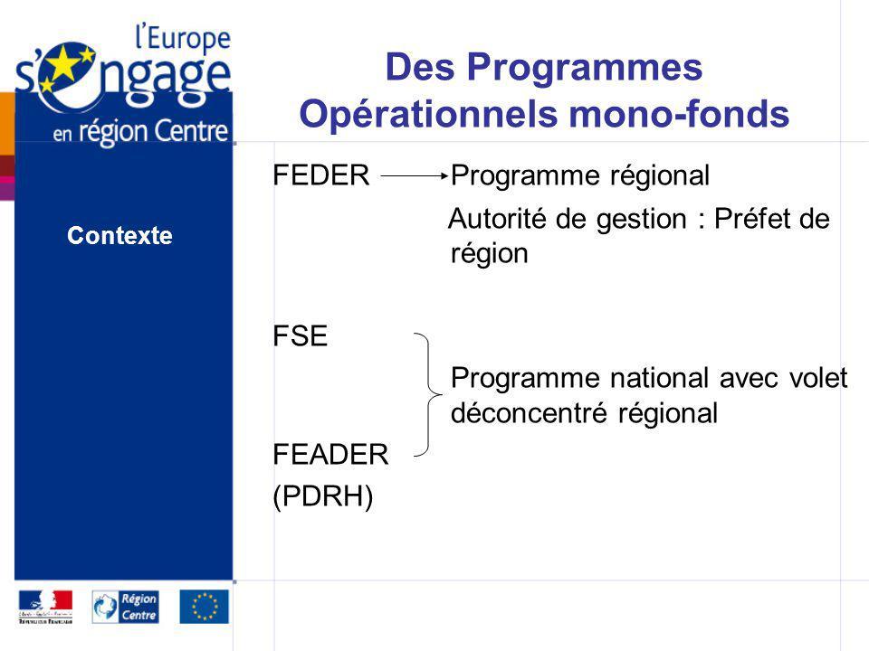 Des Programmes Opérationnels mono-fonds