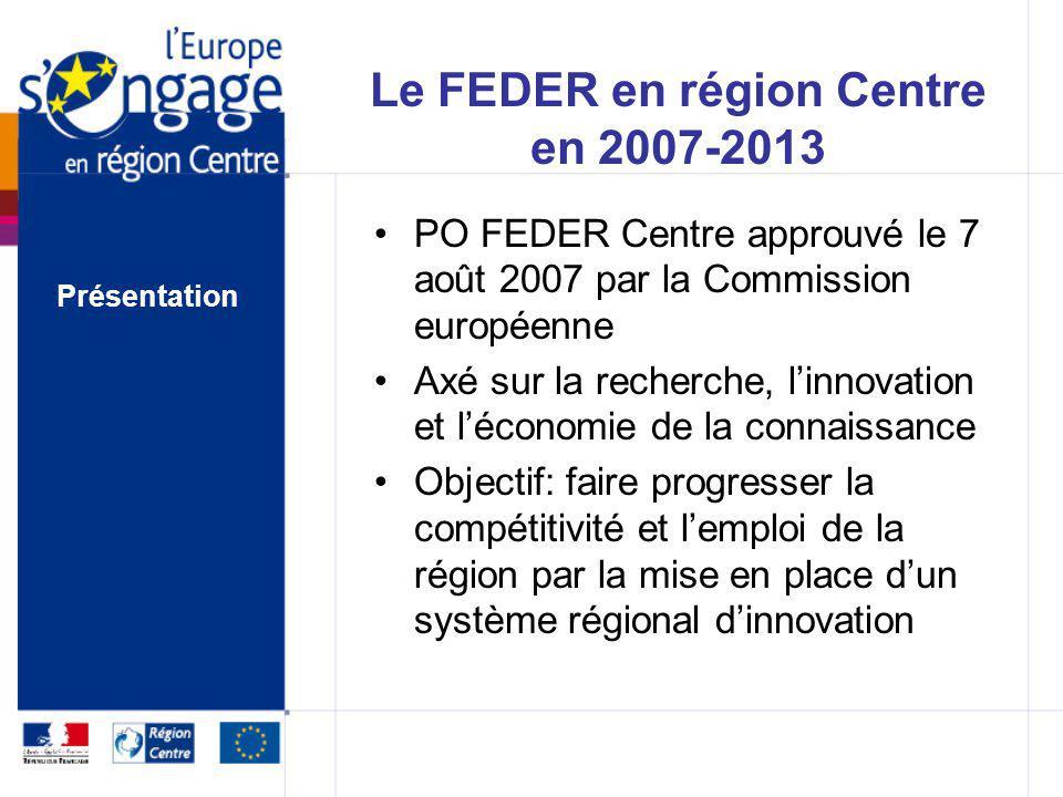 Le FEDER en région Centre en 2007-2013