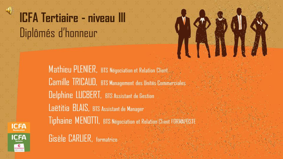 ICFA Tertiaire - niveau III Diplômés d'honneur