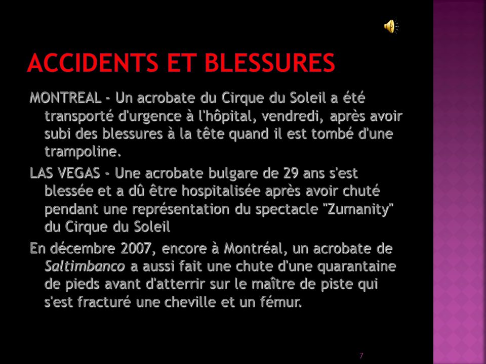 Accidents et blessures