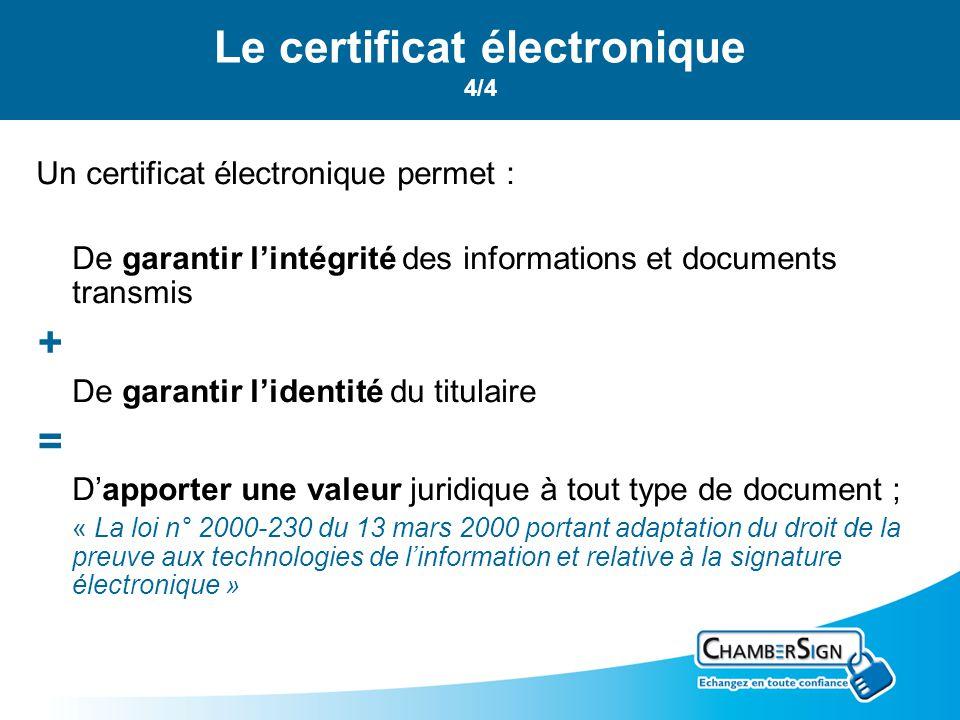 Le certificat électronique 4/4