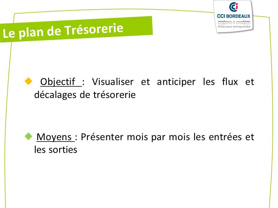 Le plan de Trésorerie  Objectif : Visualiser et anticiper les flux et décalages de trésorerie.