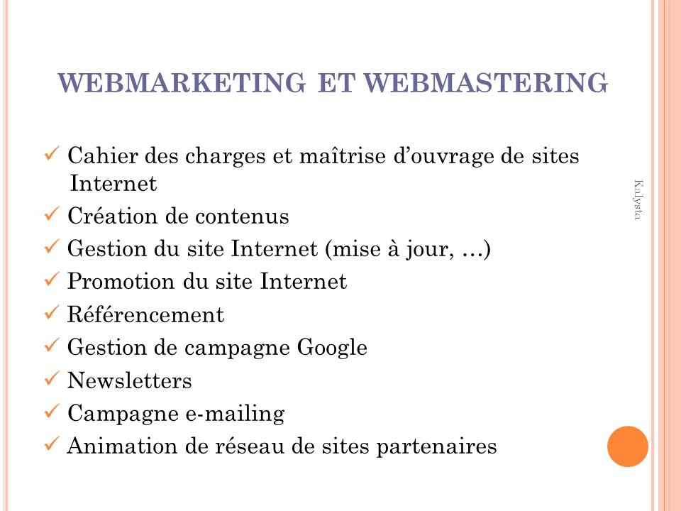 WEBMARKETING ET WEBMASTERING