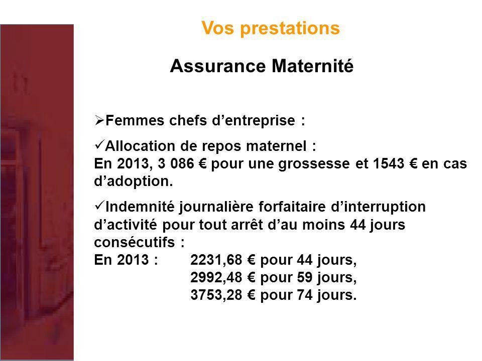 Vos prestations Assurance Maternité Femmes chefs d'entreprise :