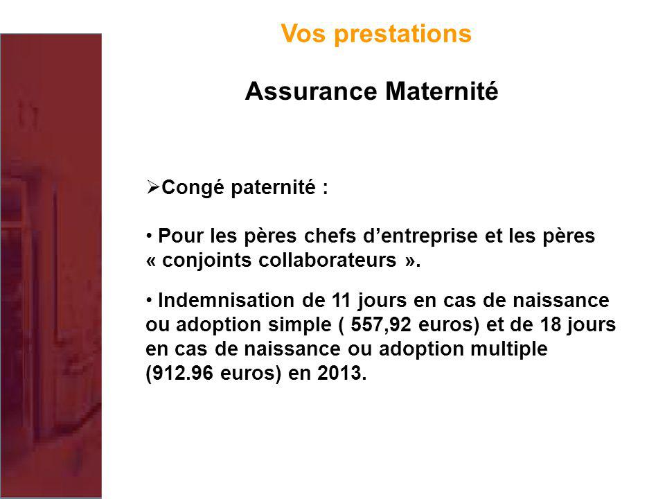 Vos prestations Assurance Maternité Congé paternité :